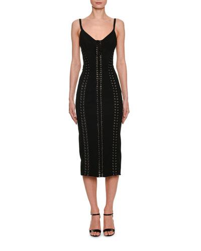 Thin-Strap Corset Midi Dress