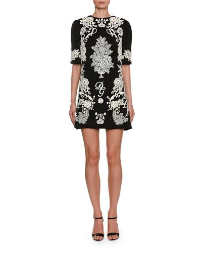 1/2-Sleeve Jacquard Place-Lace Mini Dress