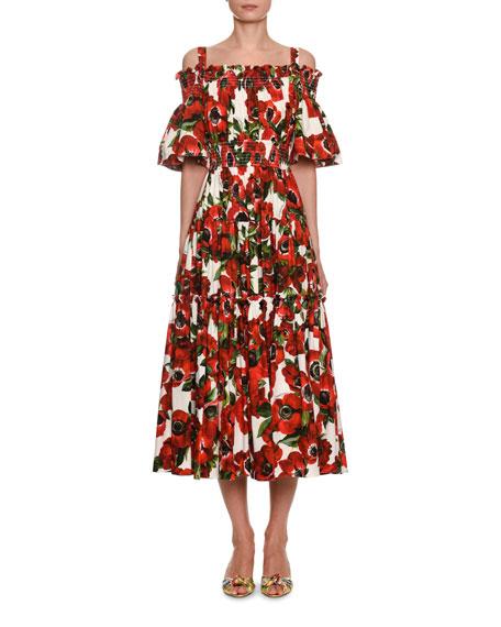 Dolce & Gabbana Cold-Shoulder Anemoni Print Poplin Midi