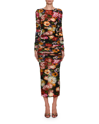 Long-Sleeve Floral Ruched Bodycon Midi Dress