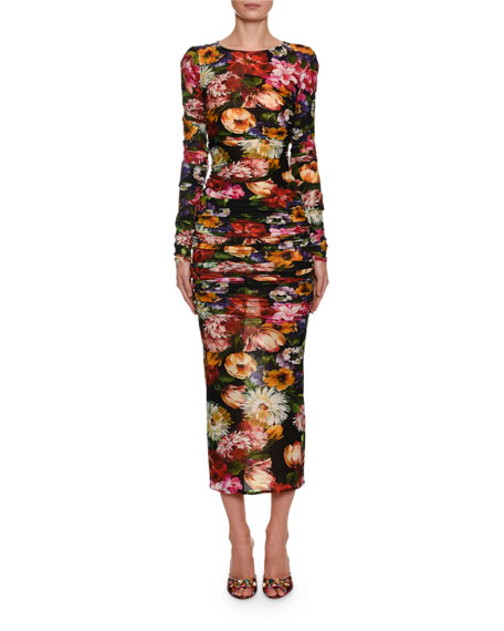 Dolce & Gabbana Long-Sleeve Floral Ruched Bodycon Midi