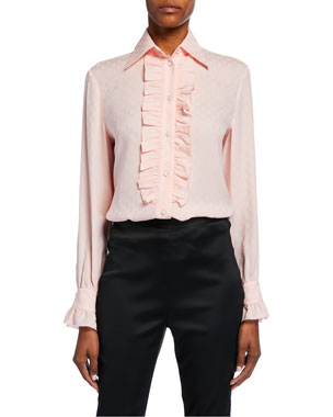 ae088d56efb34b Gucci Ruffled Button-Front Silk Crepe Shirt