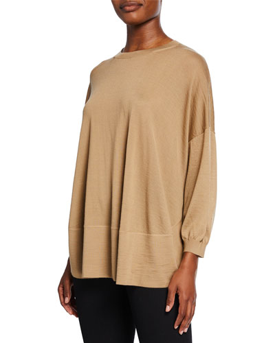 Cashmere 3/4-Sleeve Poncho Sweater
