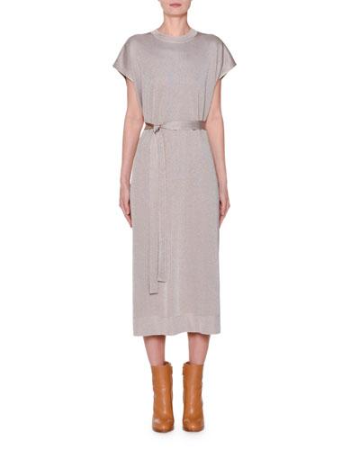 Short-Sleeve Round-Neck Metallic T-Shirt Dress