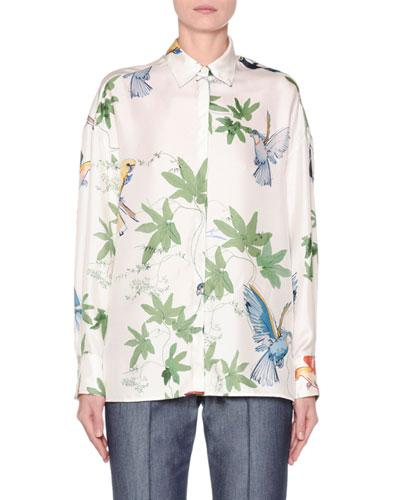 Long-Sleeve Botanical-Print Button-Front Shirt