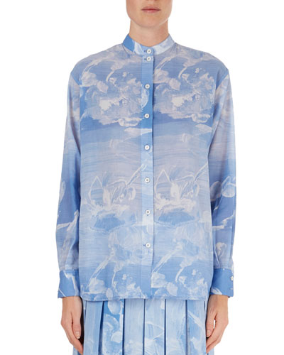 Cloud-Print Band-Collar Blouse