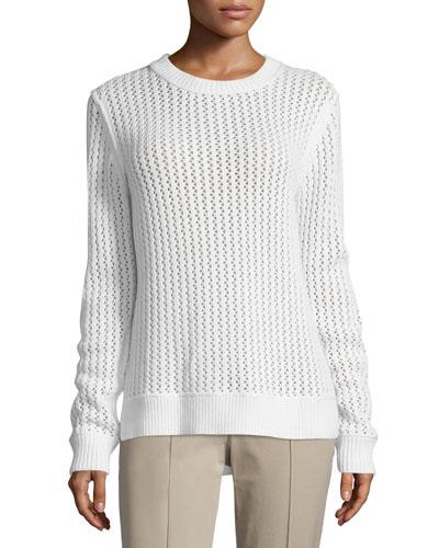 Long-Sleeve Zigzag-Ribbed Sweater, White