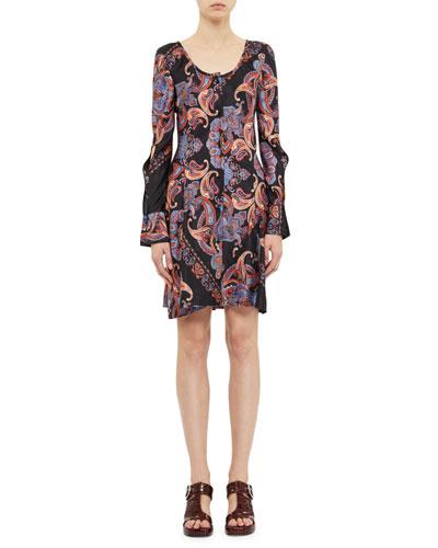 Bell-Sleeve Paisley Print Mini Dress