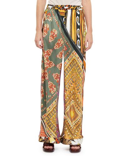 Patch-Print Silk Wide-Leg Pants