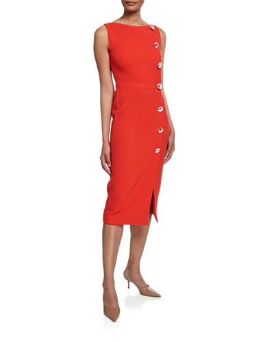 Boat-Neck Sheath Dress with Flower Buttons