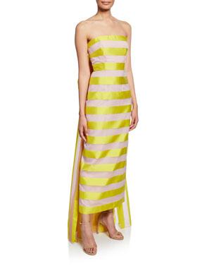Lela Rose Strapless Striped Back Bow Column Dress