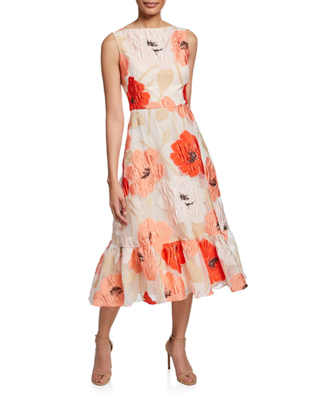 Lela Rose BOAT-NECK FLORAL FLOUNCE DRESS