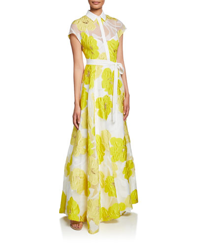 Belted Floral Illusion Gown