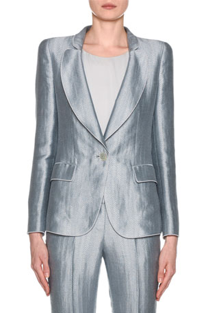 Giorgio Armani Metallic Linen Chevron Button-Front Blazer, Ice Blue