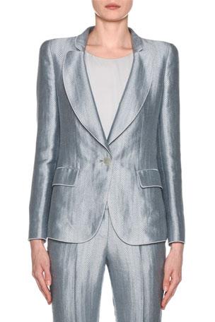 Giorgio Armani Metallic Linen Chevron Button-Front Blazer, Ice Blue