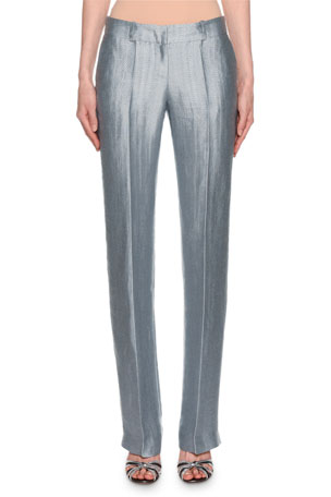 Giorgio Armani Metallic Linen Chevron Pants, Ice Blue