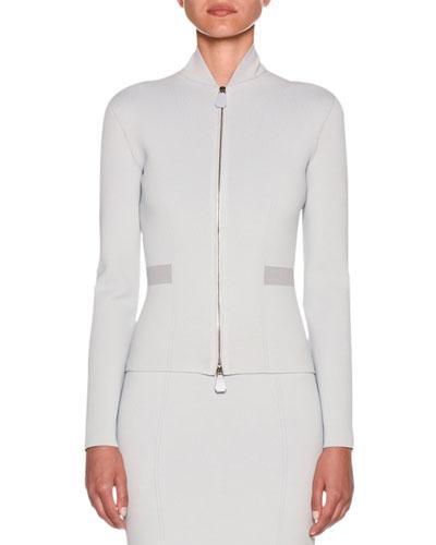 Funnel-Neck Dual-Zip Crepe Jersey Jacket