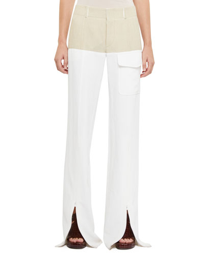 Two-Tone Slit Front Pants