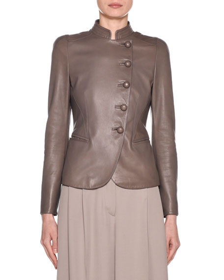 Giorgio Armani Fitted Asymmetric Button-Front Leather Jacket