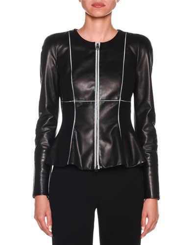 Zip-Front Piped Fit & Flare Leather Jacket