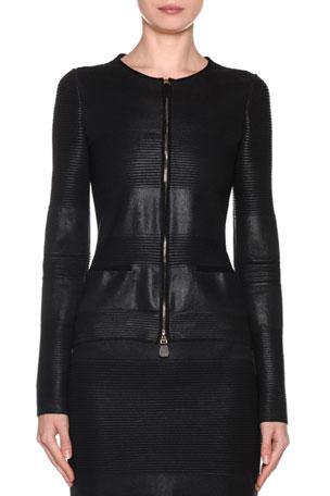 Giorgio Armani Ottoman-Striped Waxed Dual-Zip Jacket