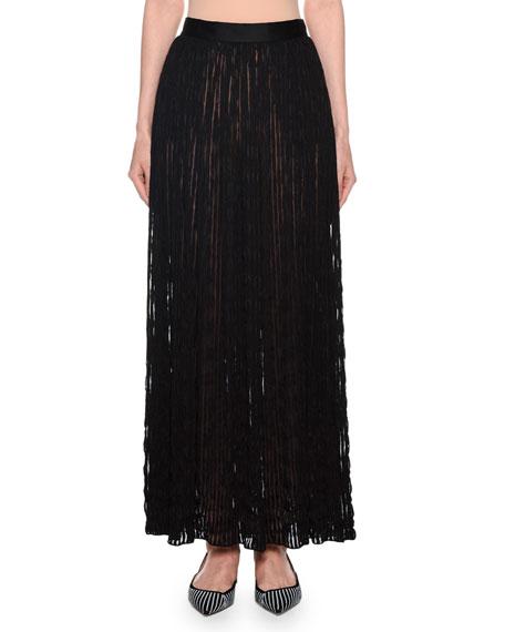 Giorgio Armani Pleated Sheer-Striped Maxi Skirt