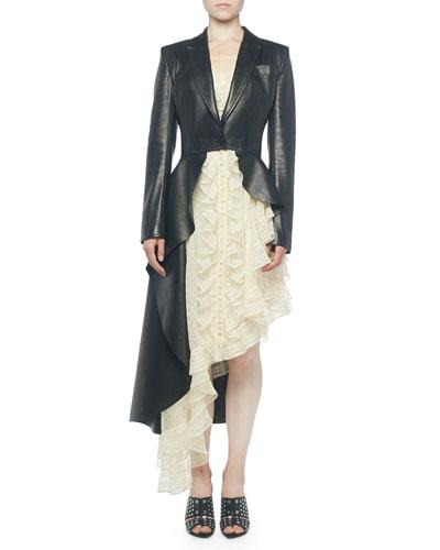 Asymmetric Leather Peplum Jacket
