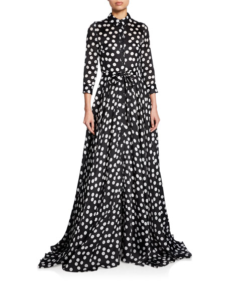 Carolina Herrera Tops POLKA-DOT FULL TRENCH GOWN