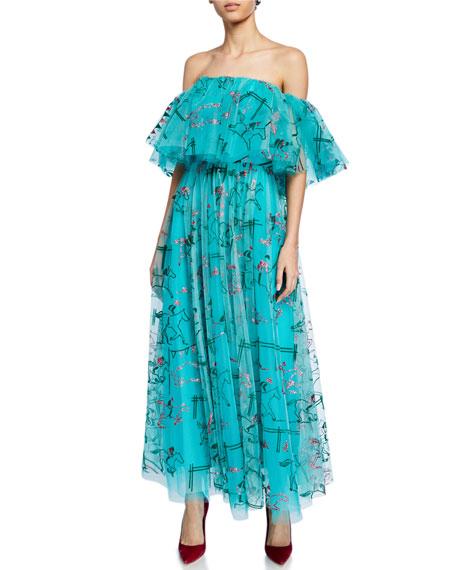 Carolina Herrera Dresses OFF-THE-SHOULDER EQUESTRIAN-PRINT LONG COCKTAIL DRESS