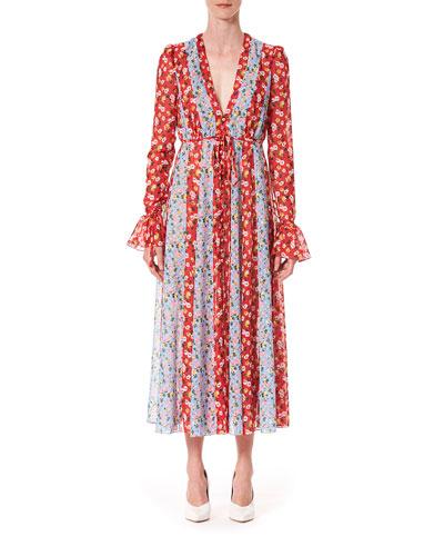 Floral-Striped V-Neck Midi Dress