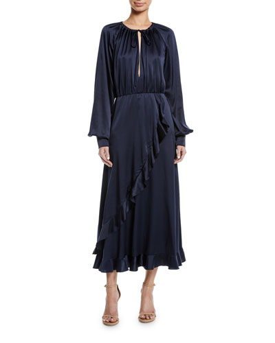 Blouson-Sleeve Cascading Ruffle Dress