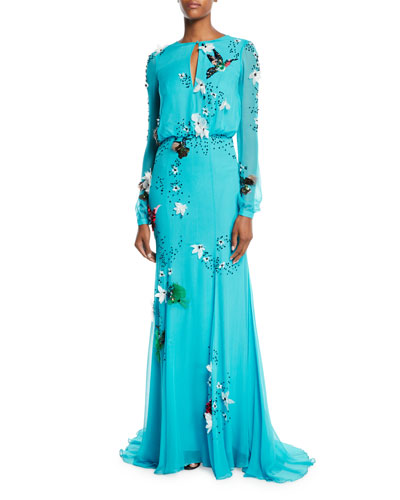 Jewel Neck Long-Sleeve Gown