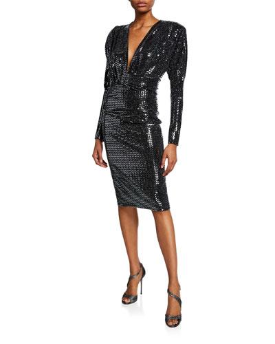 Solti Draped V-Neck Cocktail Dress