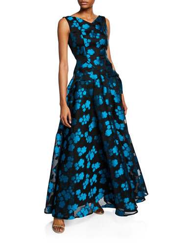 Sopa Floral Fil Coupe Full-Skirt Gown