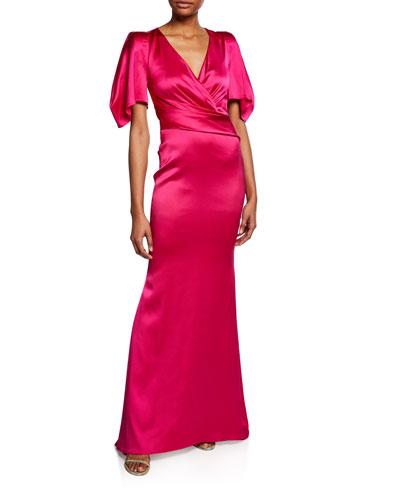 Socotra V-Neck Draped Sleeve Gown