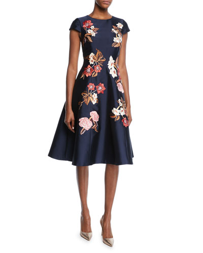 Leigh Cap-Sleeve Floral-Embroidered Dress