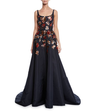 4f60ef8f3d1 Ahluwalia Mara Ballerina-Neck Sequined Floral Gown