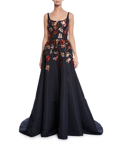 Mara Ballerina-Neck Sequined Floral Gown