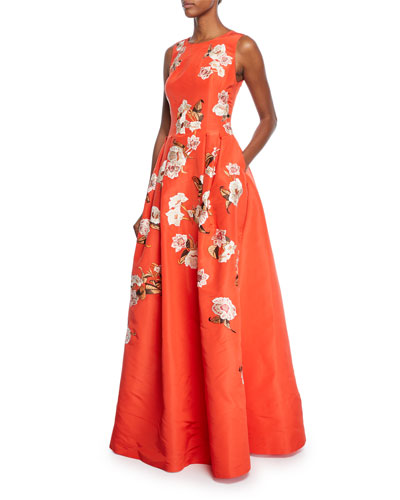 Lucille Sleeveless Floral Threadwork Gown
