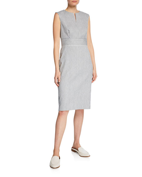 Max Mara Dresses CARAFFA TICKING-STRIPED SHEATH DRESS