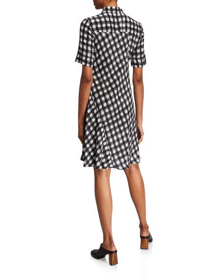 Derek Lam Plaid Short-Sleeve A-Line Dress