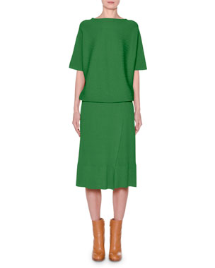 0611f1df3af823 Agnona Short-Sleeve Crewneck Ribbed Dress