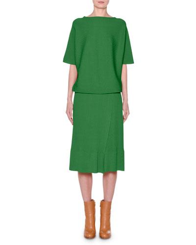 Short-Sleeve Crewneck Ribbed Dress