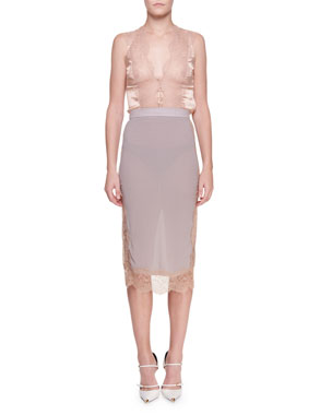d6412f7335f90 TOM FORD Chantilly Lace Pencil Skirt