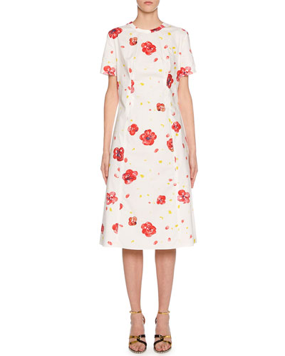 Short-Sleeve Painted Flower Print Dress