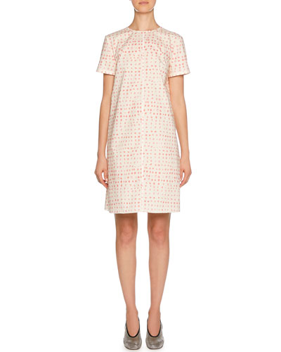 Short-Sleeve Polka-Dot Print Cotton Dress