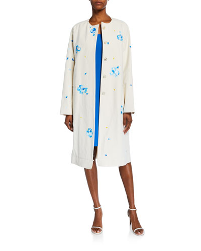 Hand-Painted Floral Coat