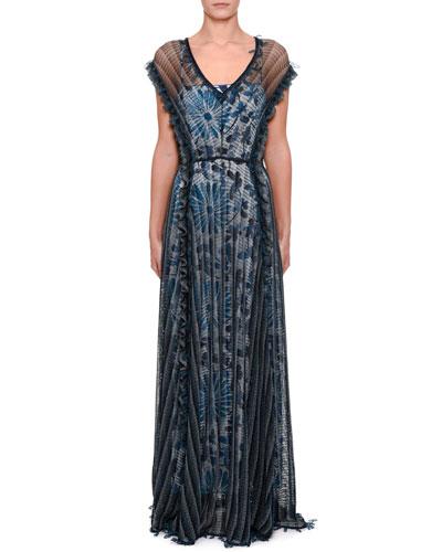 Crochet-Striped Ruffle Sleeve Dress