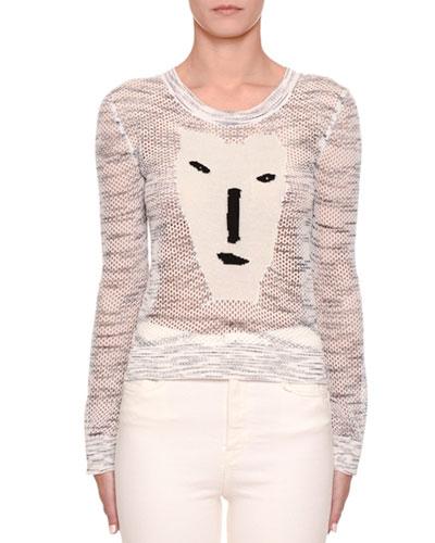 Long-Sleeve Crochet Face Intarsia Sweater