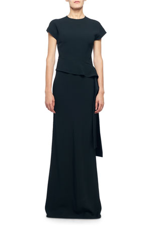 Victoria Beckham Cap-Sleeve Draped Waist Asymmetric Dress